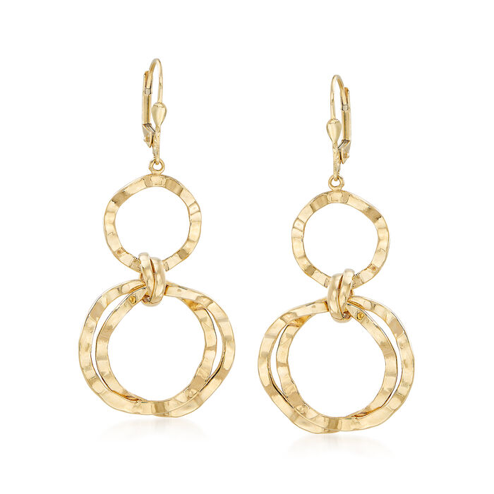 14kt Yellow Gold Wavy Open-Circle Drop Earrings