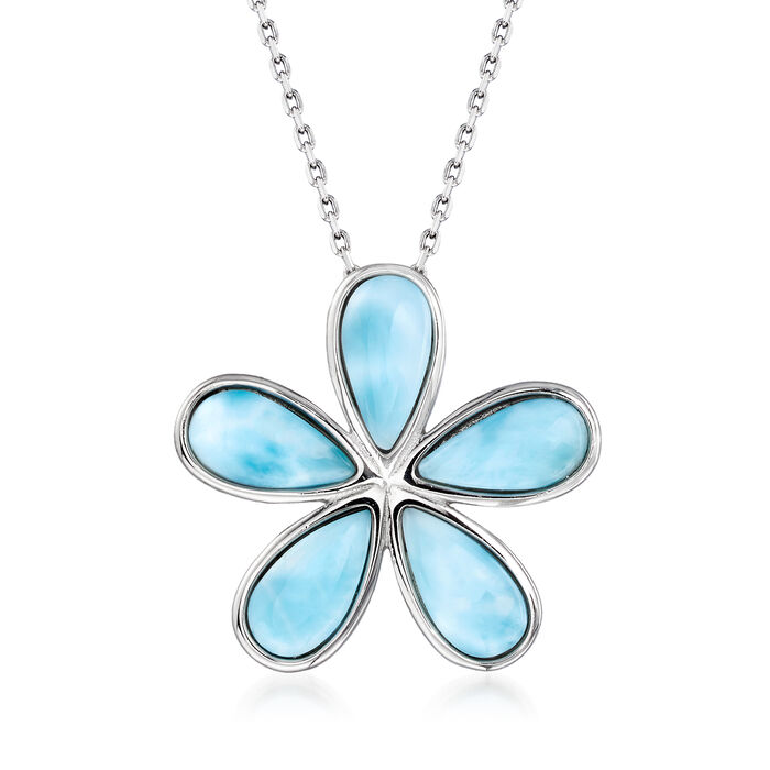 """Larimar Daisy Flower Pendant Necklace in Sterling Silver. 18"""""""
