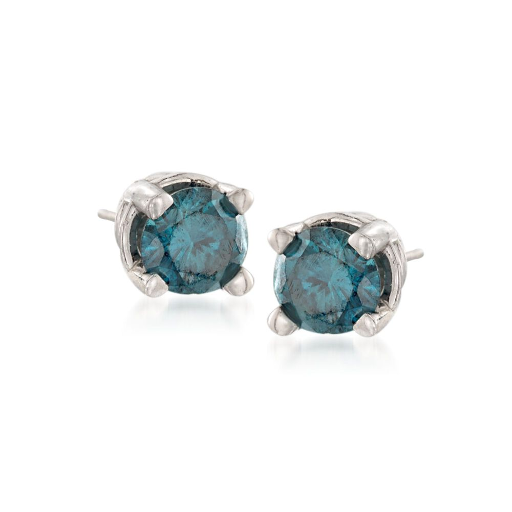 T W Blue Diamond Stud Earrings In 14kt White Gold Default