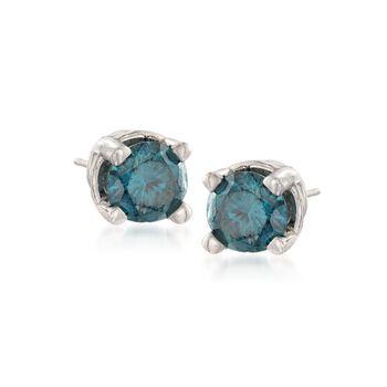 .25 ct. t.w. Blue Diamond Stud Earrings in 14kt White Gold , , default
