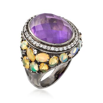 7.75 Carat Amethyst and Ethiopian Opal Ring With .50 ct. t.w. White Topaz in Sterling, , default