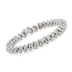 "C. 2000 Vintage 8.40 ct. t.w. Bezel-Set Diamond Bracelet in 18kt White Gold. 8"", , default"