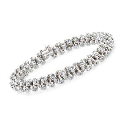 C. 2000 Vintage 8.40 ct. t.w. Bezel-Set Diamond Bracelet in 18kt White Gold, , default