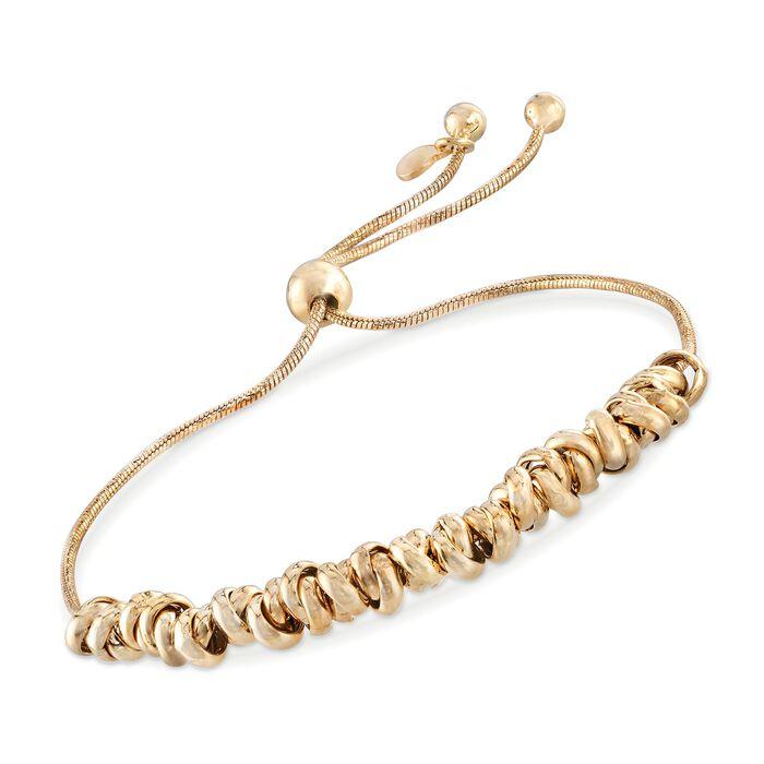 Italian 18kt Yellow Gold Over Sterling Silver Crisscrossing Bead Bolo Bracelet, , default