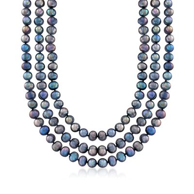 8-9mm Gray Cultured Pearl Endless Necklace With Free Sterling Silver Necklace Shortener, , default