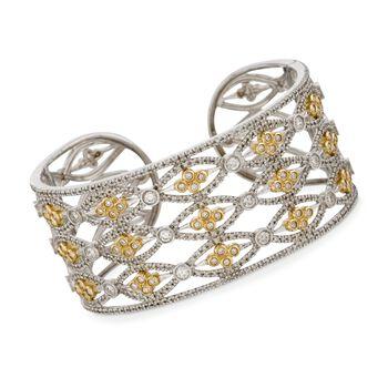 """4.85 ct. t.w. Diamond Cuff Bracelet in 14kt Two-Tone Gold. 7"""", , default"""