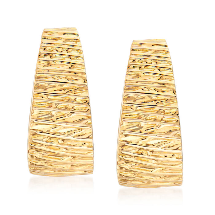 Italian Textured 14kt Yellow Gold Earrings