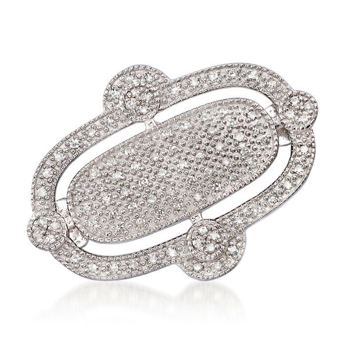 .25 ct. t.w. Pave Diamond Double-Oval Pin in Sterling Silver, , default