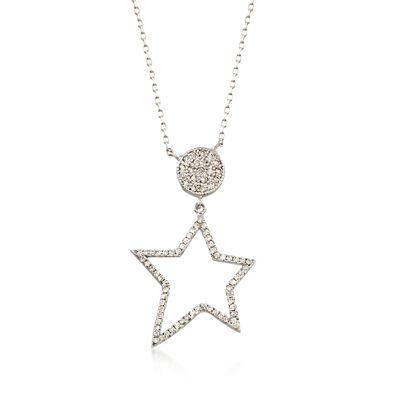 .42 ct. t.w. CZ Star Pendant Necklace in Sterling Silver, , default