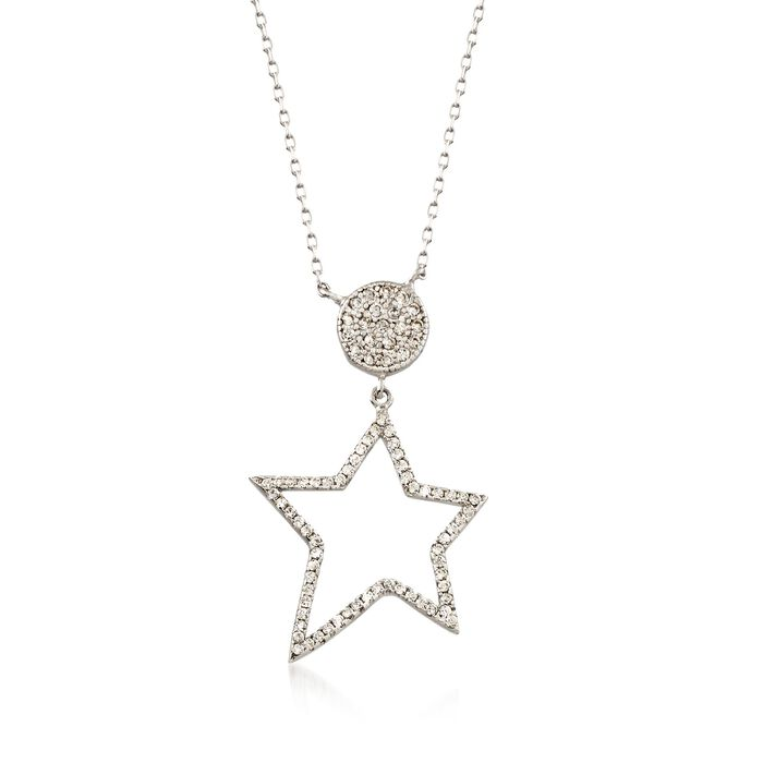 """.42 ct. t.w. CZ Star Pendant Necklace in Sterling Silver. 20"""", , default"""