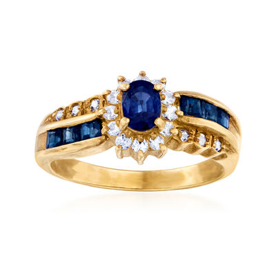 C. 1980 Vintage .90 ct. t.w. Sapphire and .24 ct. t.w. Diamond Ring in 18kt Yellow Gold