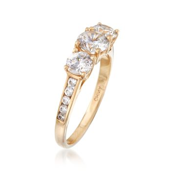 1.70 ct. t.w. CZ Three-Stone Ring in 14kt Yellow Gold, , default
