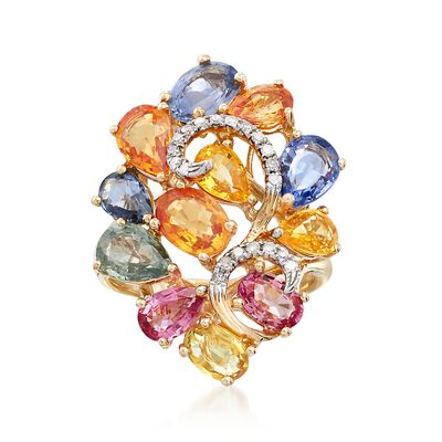 8.10 ct. t.w. Multicolored Sapphire and .13 ct. t.w. Diamond Cluster Ring in 14kt Yellow Gold, , default