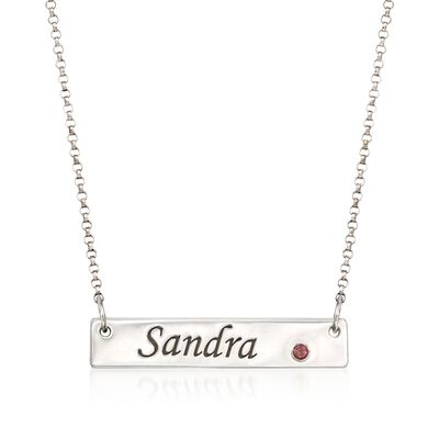Birthstone Name Necklace in Sterling Silver, , default