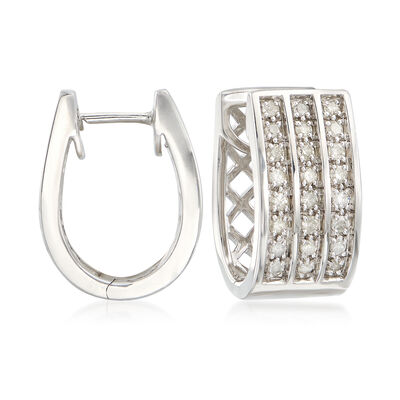 1.00 ct. t.w. Diamond Triple-Row Hoop Earrings in Sterling Silver, , default