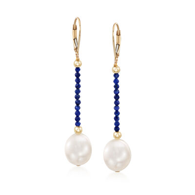 10-10.5mm Cultured Pearl and Lapis Bead Drop Earrings in 14kt Yellow Gold