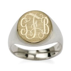 Two-Tone Sterling Silver Monogram Signet Ring, , default