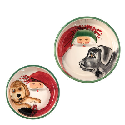 """Vietri """"Old St. Nick"""" Dog Bowl from Italy"""