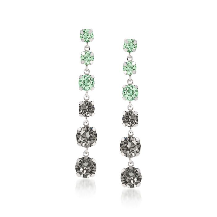 Italian Sterling Silver Linear Drop Earrings with Gray and Green Swarovski Crystals, , default