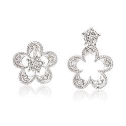 .25 ct. t.w. Diamond Flower Convertible Earrings in Sterling Silver, , default