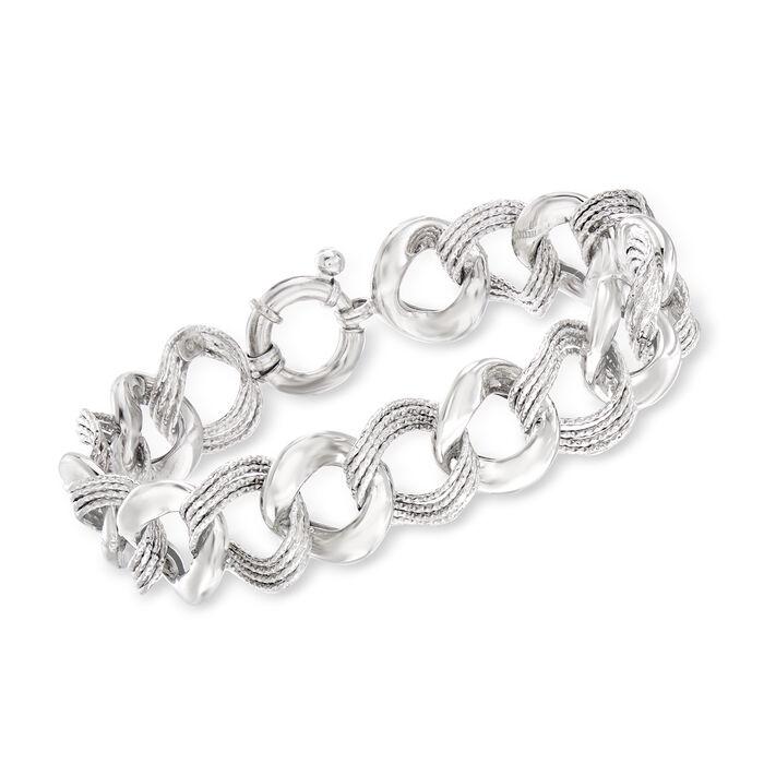 "Italian Textured and Polished Sterling Silver Link Bracelet. 7.5"", , default"