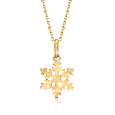 18kt Yellow Gold Snowflake Pendant Necklace
