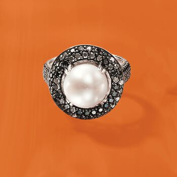 9mm Cultured Pearl and 1.20 ct. t.w. Black Spinel Ring in Sterling Silver, , default