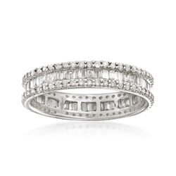 1.00 ct. t.w. Baguette and Round Diamond Eternity Ring in 14kt White Gold, , default