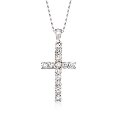 .50 ct. t.w. Diamond Cross Necklace in 14kt White Gold, , default