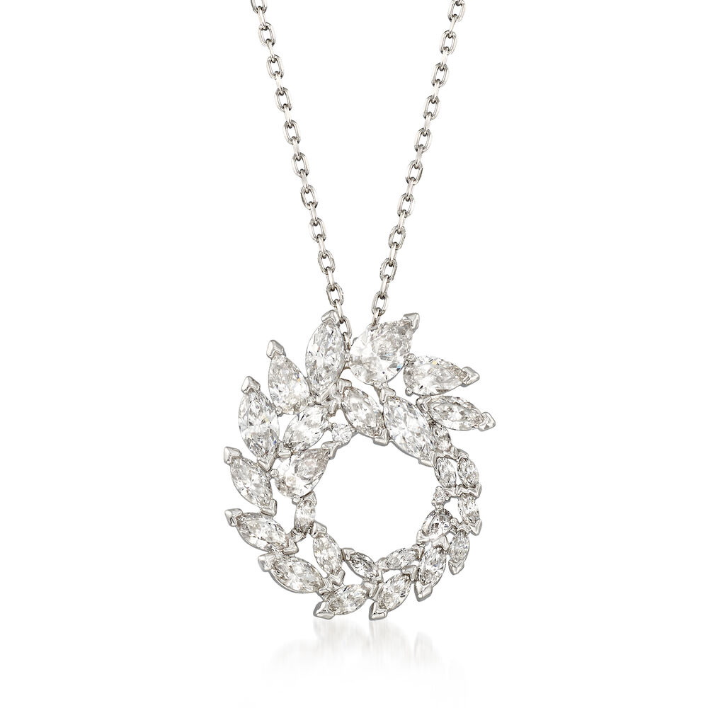 1599f4f55c4c Swarovski Crystal  quot Louison quot  Marquise Crystal Wreath Pendant  Necklace in Silvertone.