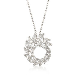"Swarovski Crystal ""Louison"" Marquise Crystal Wreath Pendant Necklace in Silvertone, , default"