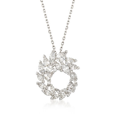 "Swarovski Crystal ""Louison"" Marquise Crystal Wreath Pendant Necklace in Silvertone, , default"