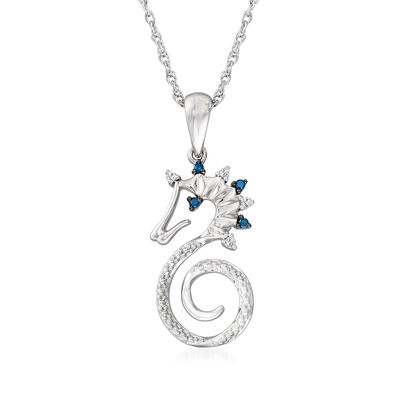 Sterling Silver Seahorse Pendant Necklace with White and Blue Diamond Accents