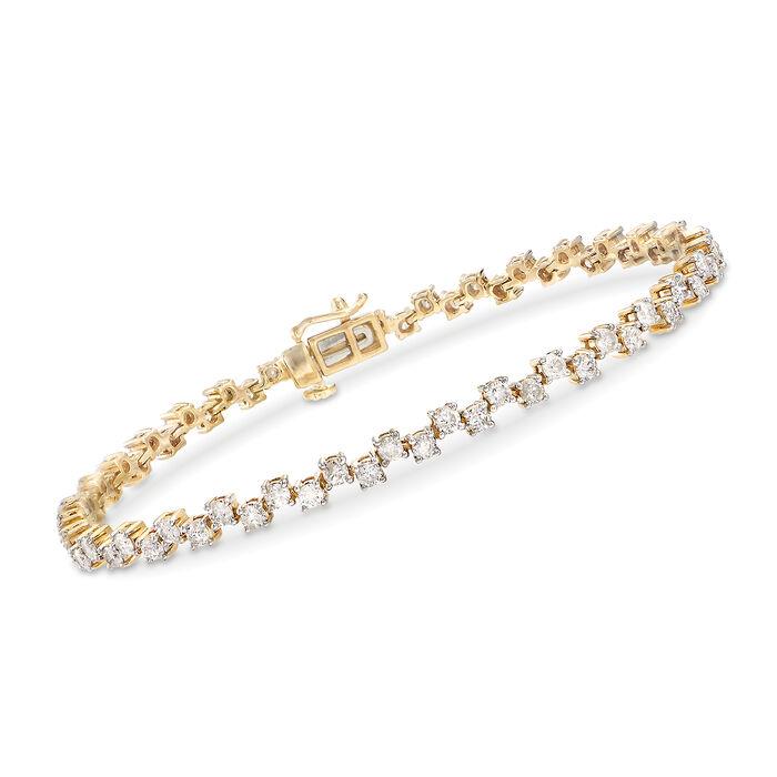 3.00 ct. t.w. Alternating Diamond Bracelet in 14kt Yellow Gold