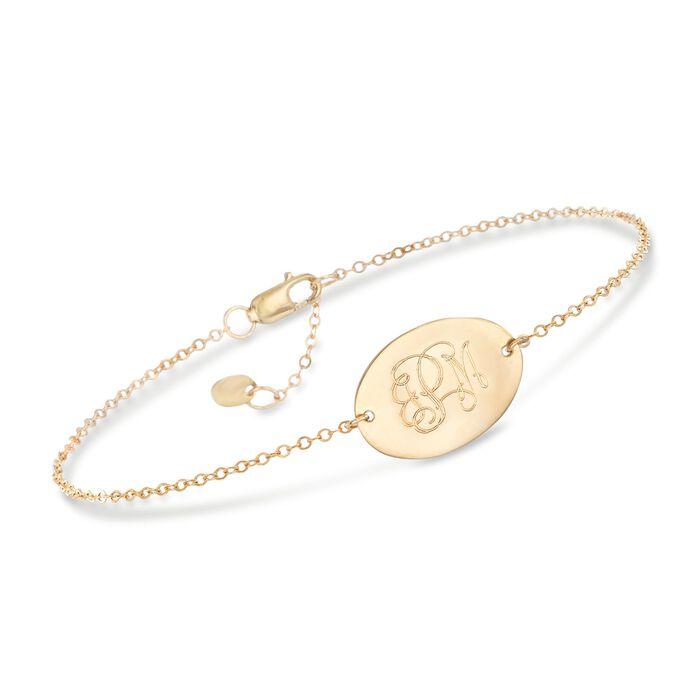 "14kt Yellow Gold Oval Monogram Bracelet. 7"", , default"