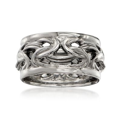 Italian Sterling Silver Byzantine Ring in Black, , default