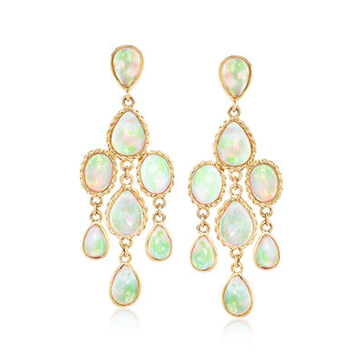Ethiopian Opal Chandelier Earrings in 14kt Yellow Gold, , default