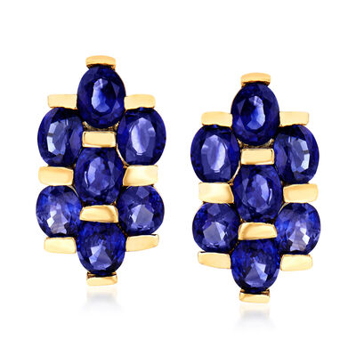 C. 1980 Vintage 4.20 ct. t.w. Sapphire Cluster Earrings in 14kt Yellow Gold, , default
