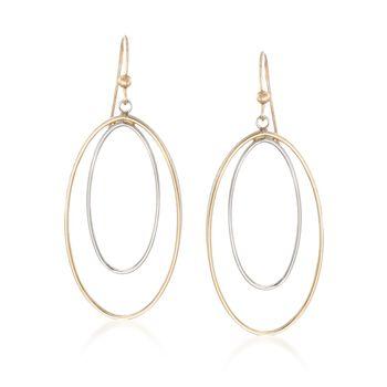 Italian 14kt Two-Tone Gold Double Oval Drop Earrings , , default