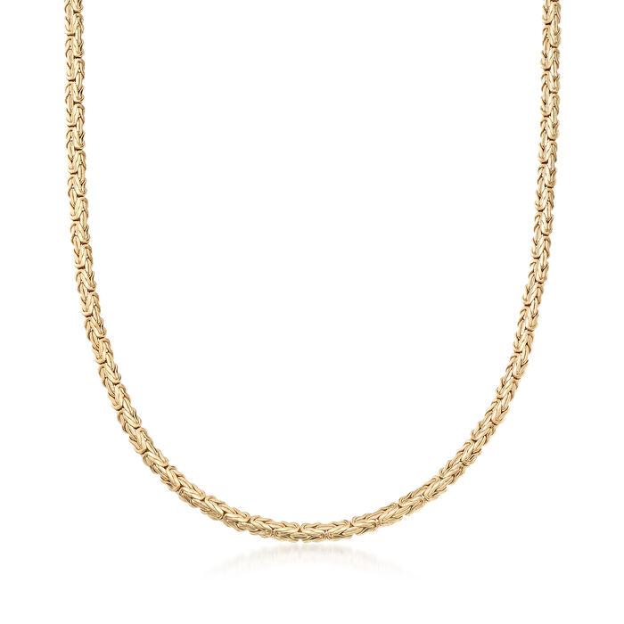 18kt Gold Over Sterling Silver Flat Byzantine Necklace