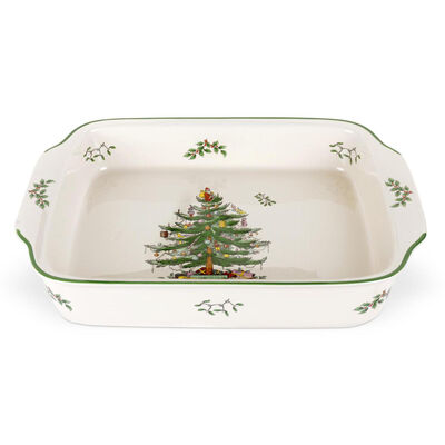 "Spode ""Christmas Tree"" Rectangular Handled Dish"