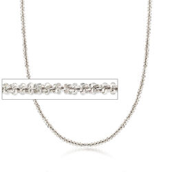 C. 2000 Vintage Criss-Cross Chain Necklace in 14kt White Gold , , default