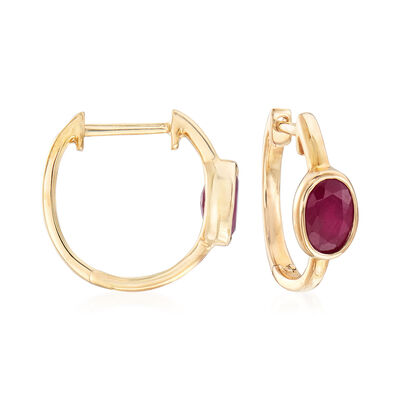 1.50 ct. t.w. Indian Ruby Hoop Earrings in 14kt Yellow Gold, , default