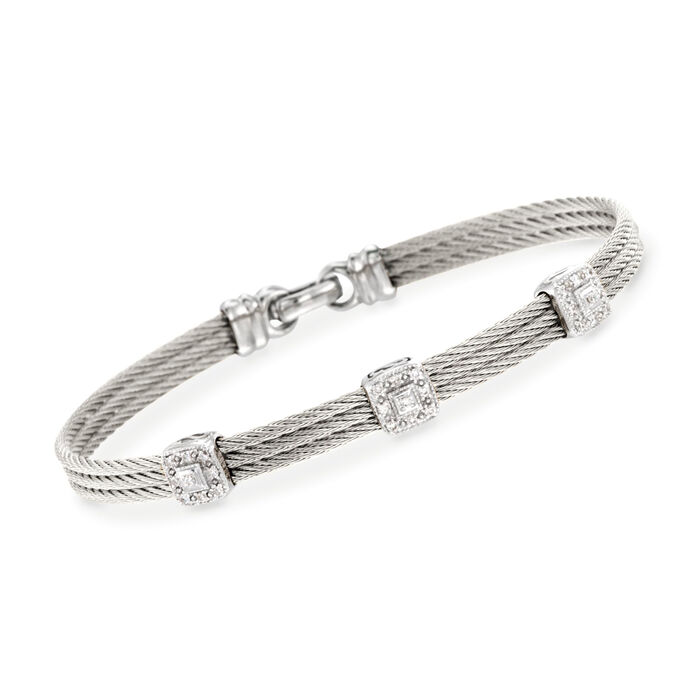 """ALOR """"Classique"""" .14 ct. t.w. Diamond Gray Cable Bracelet with 18kt White Gold. 7"""""""