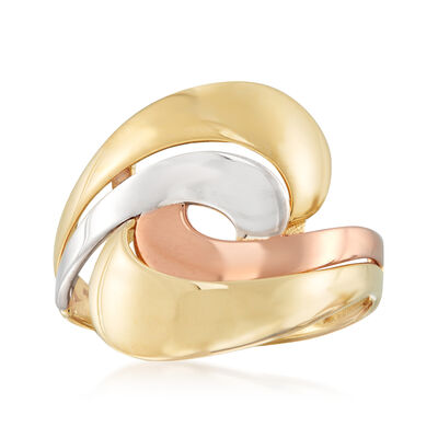 14kt Tri-Colored Gold Swirl Ring