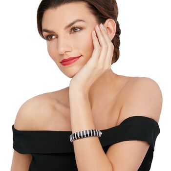 "Belle Etoile ""Regal"" Black Onyx and 1.70 ct. t.w. CZ Bangle Bracelet in Sterling Silver. 7"", , default"