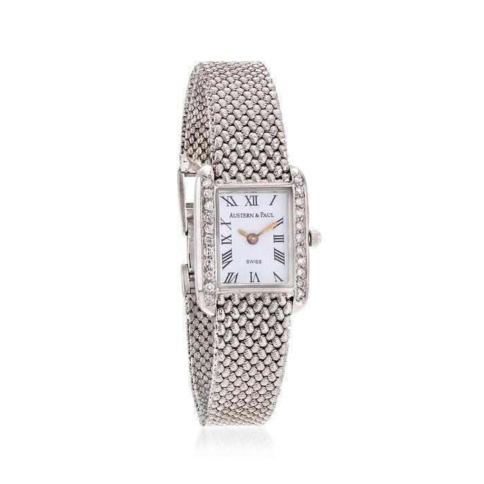 C. 1990 Vintage Austern & Paul Women's 23mm .54 ct. t.w. Diamond Quartz Watch in 14kt White Gold. Size 7, , default