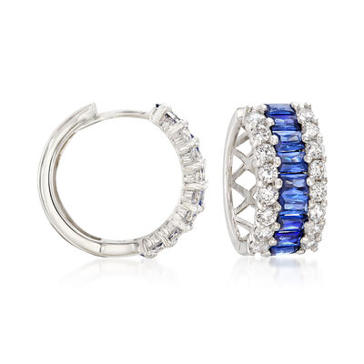 Simulated Sapphire and .95 ct. t.w. CZ Hoop Earrings in Sterling Silver, , default