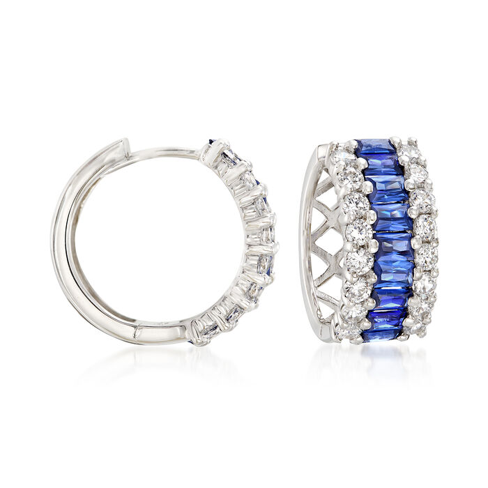 """Simulated Sapphire and .95 ct. t.w. CZ Hoop Earrings in Sterling Silver. 1/2"""", , default"""