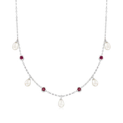 6x8mm Cultured Freshwater Pearl and 1.40 ct. t.w. Ruby Necklace in Sterling Silver